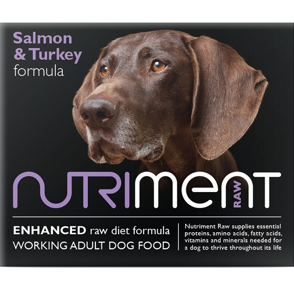 Nutriment raw salmon turkey frozen dog food for working for Raw fish for dogs